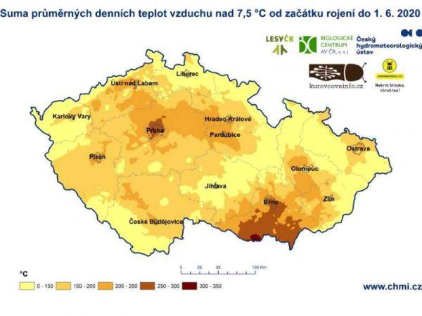 ČHMÚ zpřístupnilo mapu sumy efektivních teplot ve vztahu k rojení kůrovců
