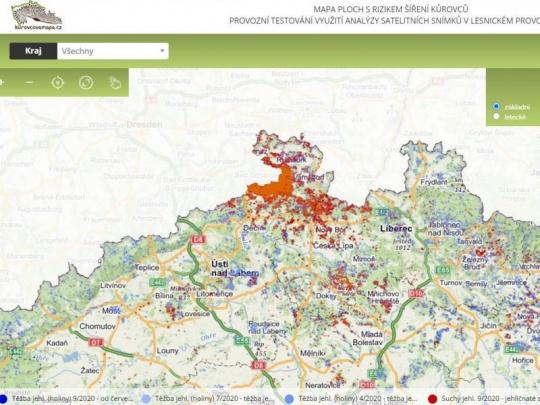 Podzimní Kůrovcová mapa byla aktualizována