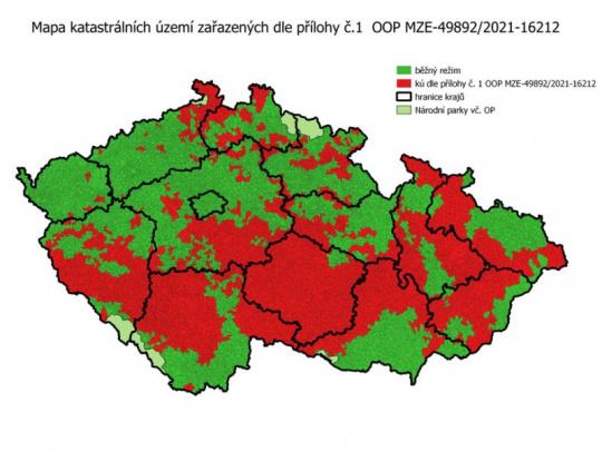 Ministerstvo zemědělství opět rozšířilo území červené zóny lesů. Pro majitele to znamená lepší podmínky při zvládání kůrovcové kalamity
